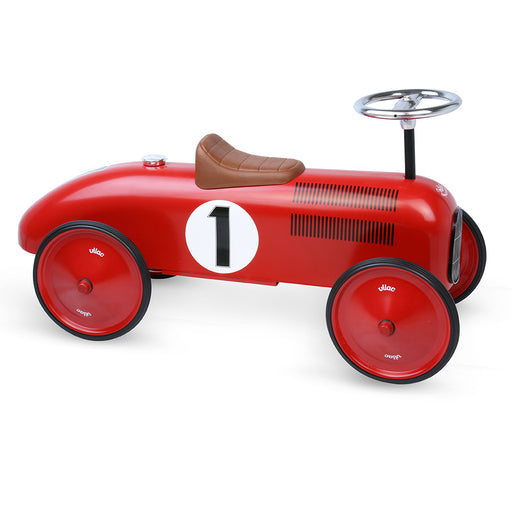 Kids Classic Vintage Racer Metal Ride On Push Car | Apple Red