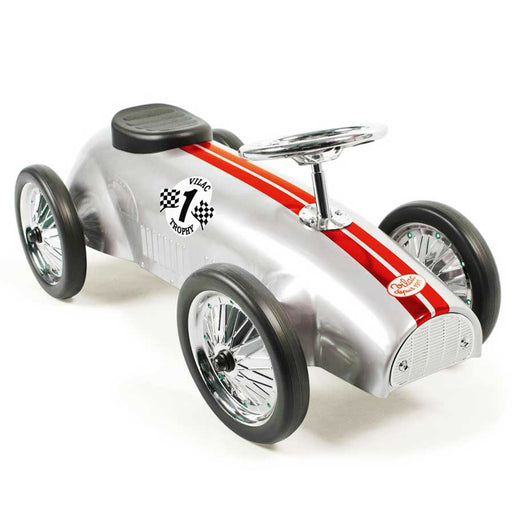 Kids Speedster Vintage Racer Metal Ride On Push Car | Silver Bullet