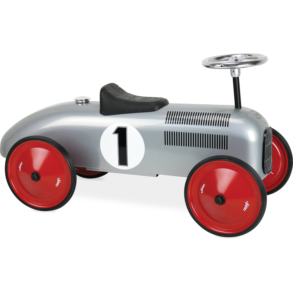 Kids Classic Vintage Racer Metal Ride On Push Car | Brushed Silver