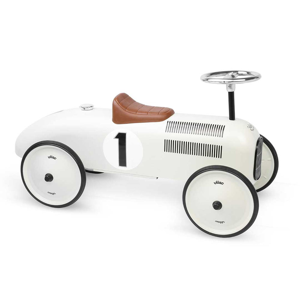 Kids Classic Vintage Racer Metal Ride On Push Car | Dollop White