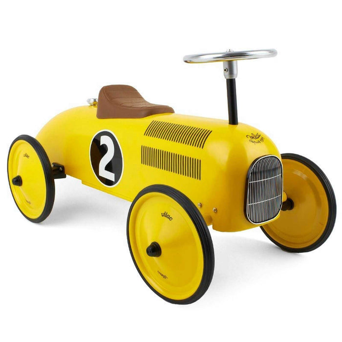 Kids Classic Vintage Racer Metal Ride On Push Car | Canary Yellow