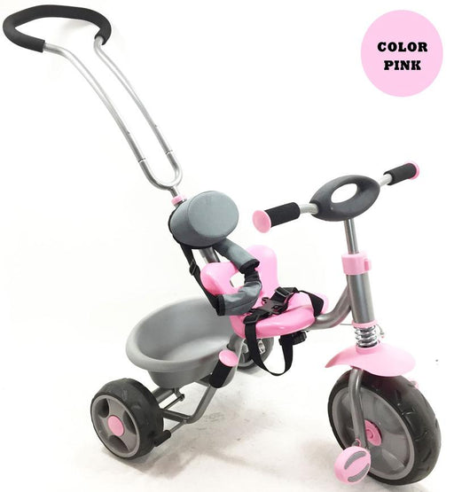 Happy Days Deluxe Rear Steerable Trike | Pink/Grey