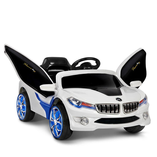 BMW Inspired Kids Ride On Car with Gullwing Doors and Remote Control | White/Blue