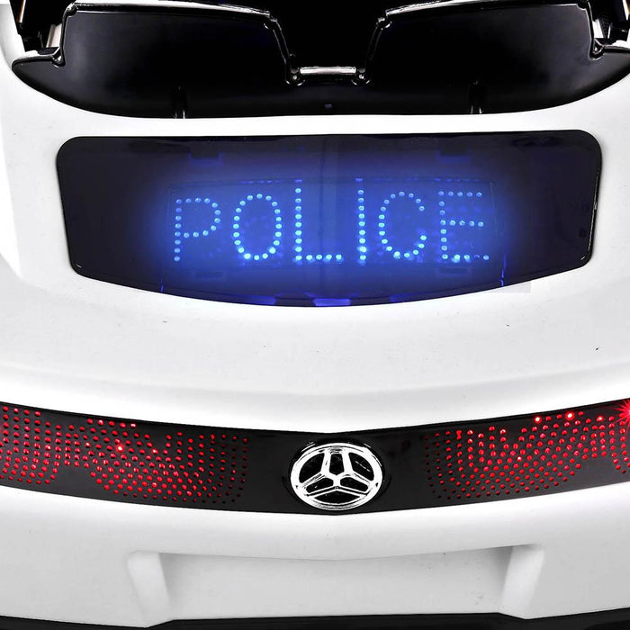 Police Inspired Kids Ride On Car with Remote Control | White/Black