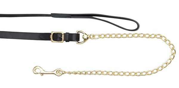 "Leather Lead 24"" Brass Plate Chain"