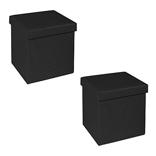 Seville Classics Black Ottoman - furniturify
