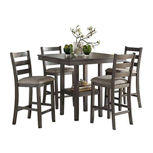 5-Piece Pack Counter Height Dinette Set, Gray - furniturify