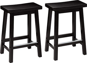Classic Solid Wood Saddle-Seat Kitchen Counter Stool - furniturify