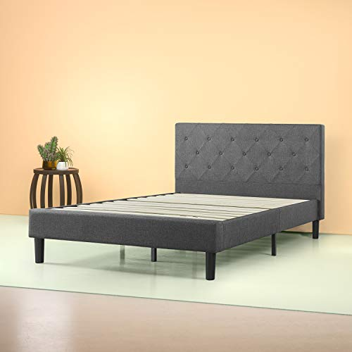 Zinus Shalini Upholstered Diamond Stitched Platform Bed / Mattress Foundation Easy Assembly Strong Wood Slat Support - furniturify