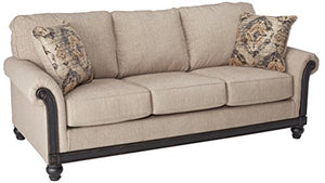 Blackwood Stationary Fabric Sofa with Rolled Arms Loose Seat Cushions and Pillows, Taupe - furniturify