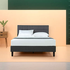 Zinus Lottie Upholstered Square Stitched Platform Bed / Mattress Foundation / Easy Assembly / Strong Wood Slat Support - furniturify