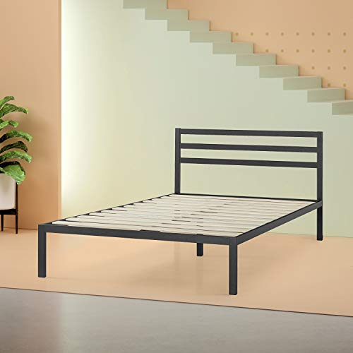 Zinus Mia Modern Studio 14 Inch Platform 1500H Metal Bed Frame Mattress Foundation Wooden Slat Support With Headboard Good Design Award Winner - furniturify