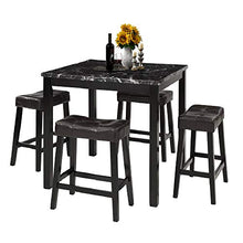 Load image into Gallery viewer, LZ LEISURE ZONE 5-Piece Dining Table Set Kitchen Marble Top Counter Height Dining Set with 4 Leather-Upholstered Stools - furniturify