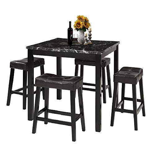 LZ LEISURE ZONE 5-Piece Dining Table Set Kitchen Marble Top Counter Height Dining Set with 4 Leather-Upholstered Stools - furniturify