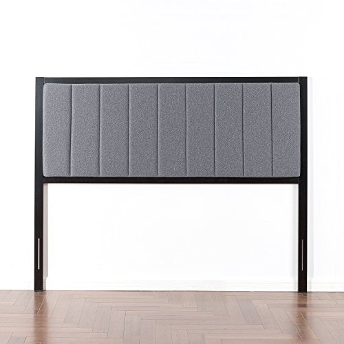 Zinus Anuar Banded Grey Upholstered Metal Headboard, - furniturify