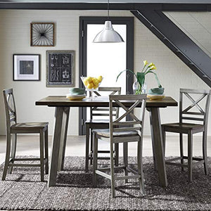 Counter Height Table and Four Chairs Set, Distressed Reclaimed Oak Plank Top - furniturify