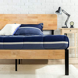 Zinus Olivia Metal and Wood Platform Bed with Wood Slat Support - furniturify