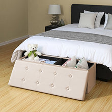 Load image into Gallery viewer, Faux Leather Folding Storage Ottoman - furniturify
