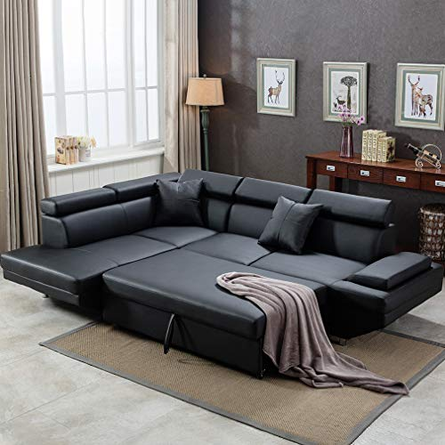 Sectional Living Room Sectional Corner Set Futon Bed Sleeper Couch Sofa Faux Leather 2 Piece - furniturify