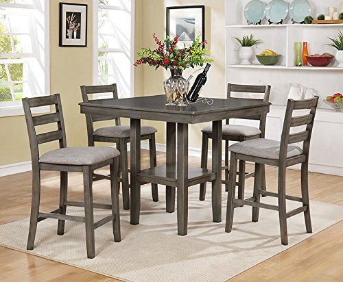 Tahoe 5-Pc Grey Wood Counter Height Table Set - furniturify