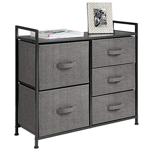 5 Drawers Steel Frame Charcoal Dressers - furniturify