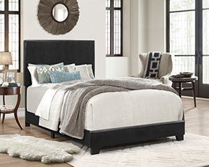 Crown Mark Upholstered Panel Bed in Black - furniturify