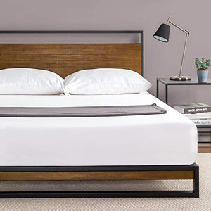 Zinus Suzanne Metal and Wood Platform Bed - furniturify