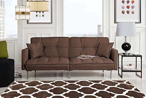 Modern Plush Tufted Linen Fabric Sleeper Futon - furniturify