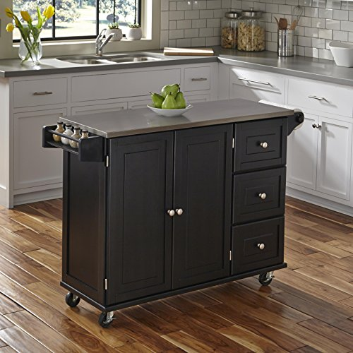 Black Kitchen Cart with Stainless Steel  Kitchen Islands - furniturify