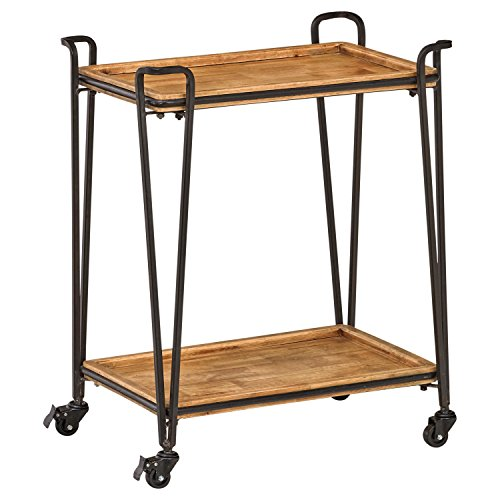 Industrial Modern 4-Post Rolling Bar Cart Table with Wheels - furniturify