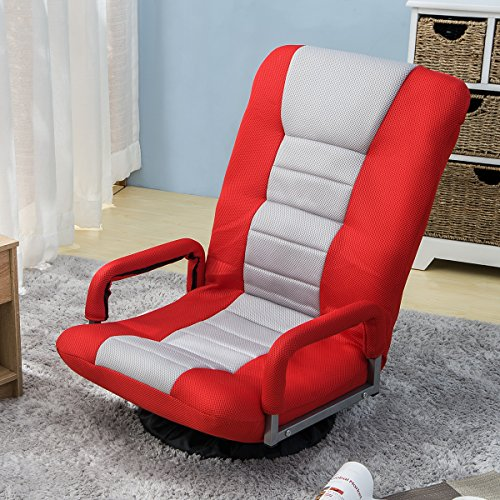 Floor Gaming Chair Adjustable 7-Position Swivel Chair Folding Sofa Lounger Red - furniturify