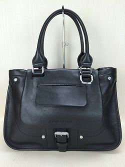 Black Color Leather Tote Bag [Pre-Owned]