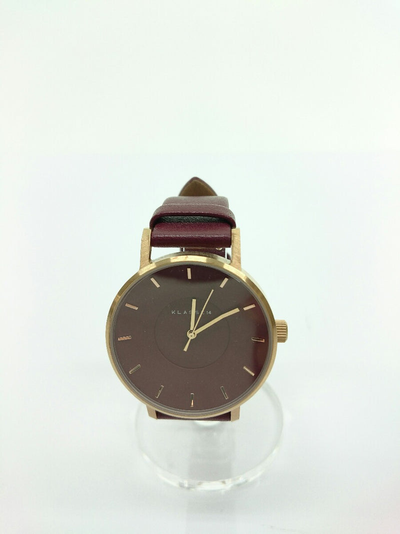 Bordeaux Color Leather Women's Watch [Pre-Owned]