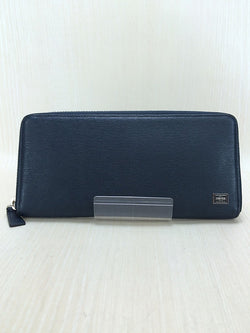 Navy Color Leather Long Wallet [Pre-Owned]