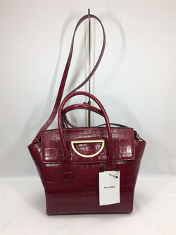 Bordeaux Color Croco Embossed Leather Shoulder Bag [Pre-Owned]