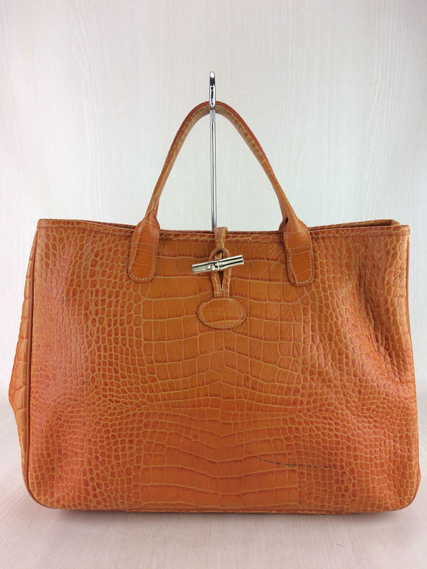 Orange Color Leather Tote Bag [Pre-Owned]