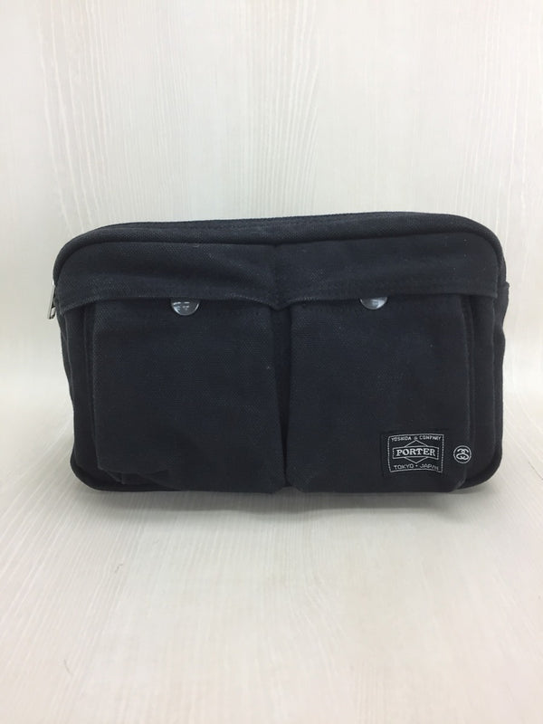 Black Color Canvas Waist Bag [Pre-Owned]