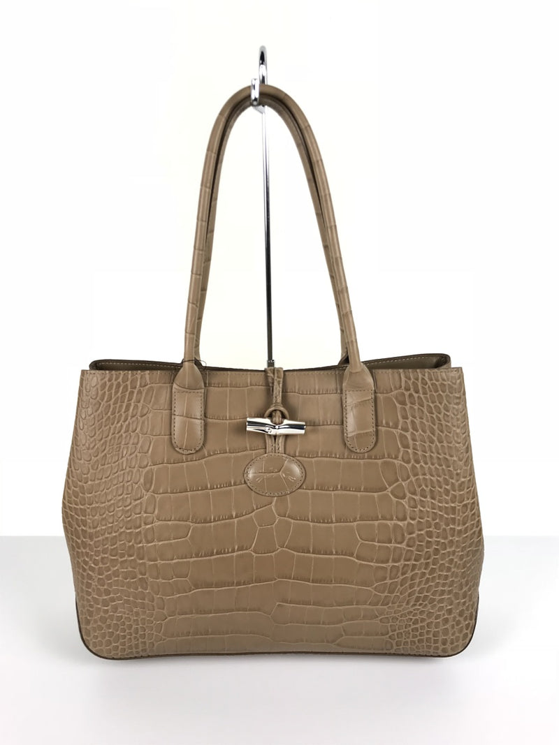 Beige Color Leather Tote Bag [Pre-Owned]