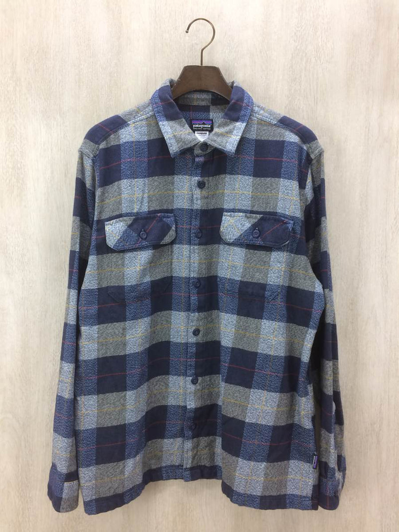 Blue Color Cotton Men's Plaid Flannel Shirt [Pre-Owned]