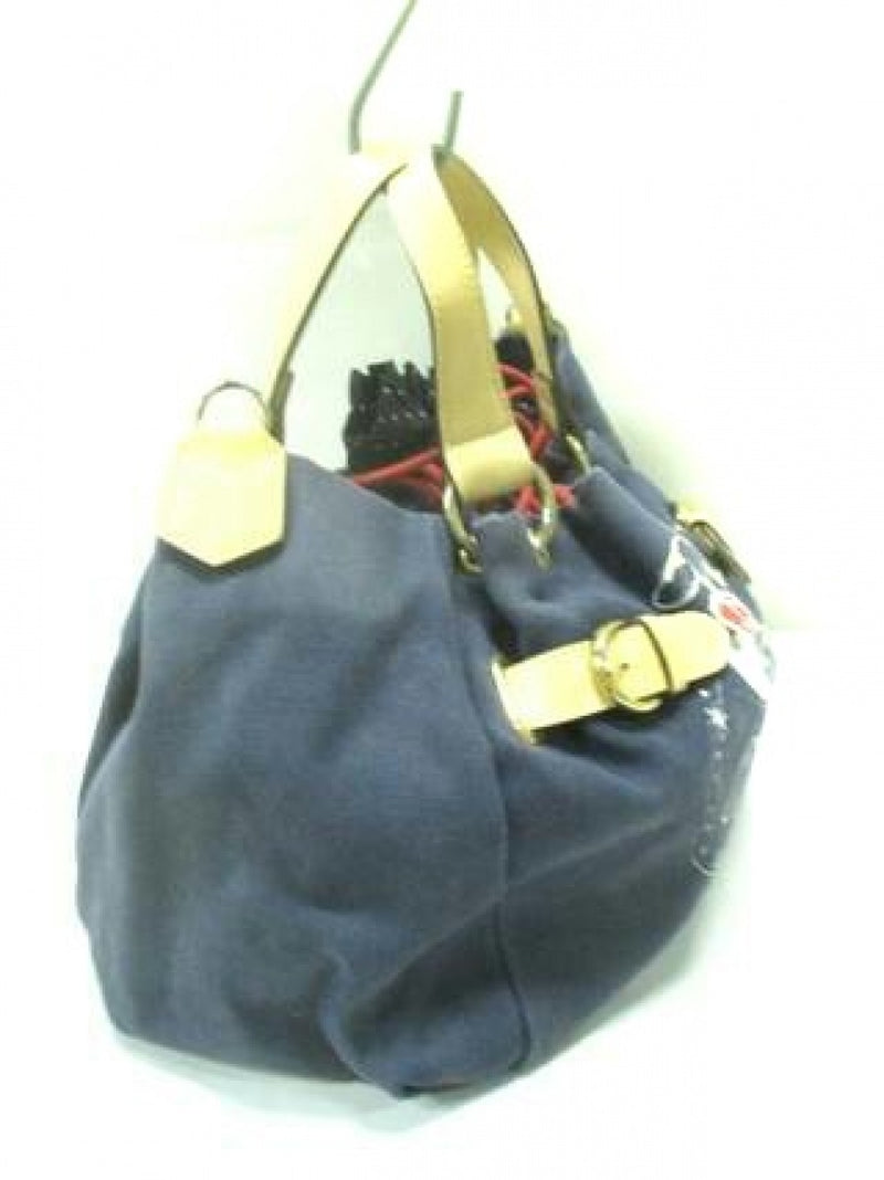 navy synthetic leather handbag [pre-owned]