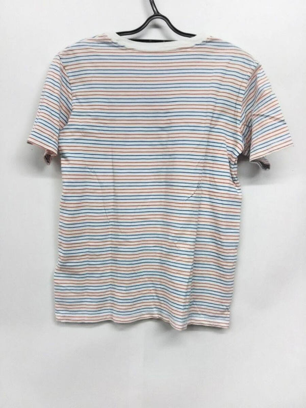 Blue & Orange Border Short-sleeved Women's T-shirt  [pre-owned]