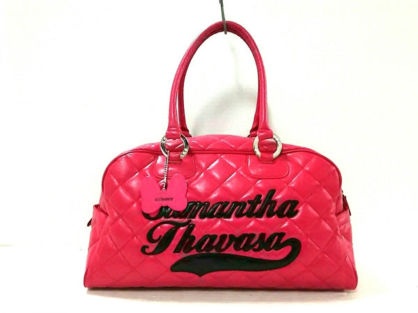 Boston Pink, Black Quilted Leather Bag [Pre-Owned]