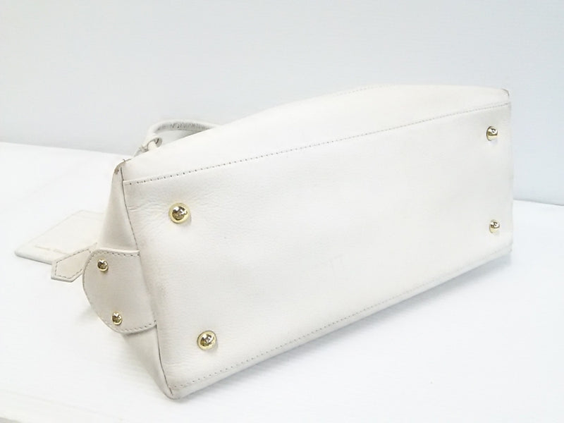 White Leather Handbag [pre-owned]