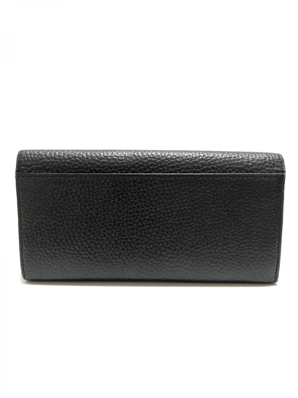 black synthetic leather long wallet [pre-owned]