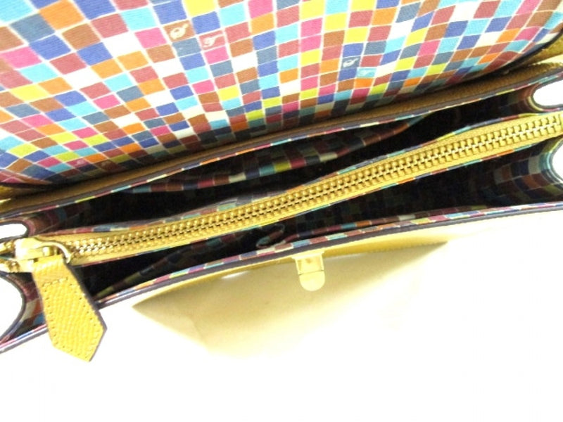 yellow leather handbag  [pre-owned]
