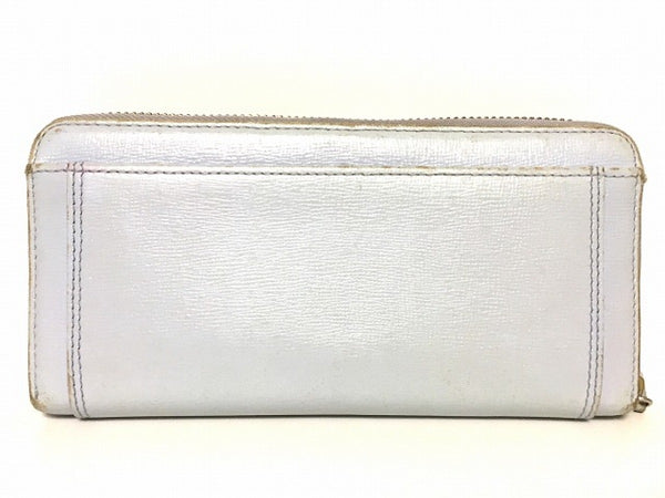 light blue round zipper long wallet [pre-owned]