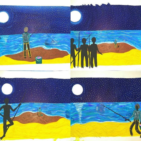 Original Indigenous Australian Artwork set of 4 by Jingalu Craig