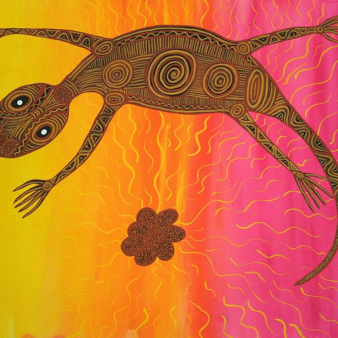 Goanna sunset - Original Indigenous Australian Artwork by Jingalu Craig
