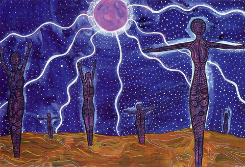 Spirit sister night - Original Indigenous Australian Artwork by Jingalu Craig