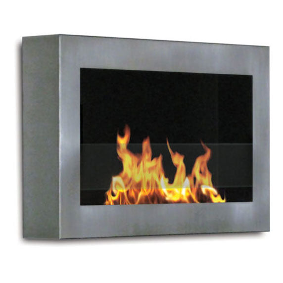 SoHo Wall Mount Fireplace in Stainless Steel
